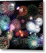 Colorful Fireworks Of Various Colors In Night Sky Metal Print