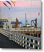 Colorful Flags And Wharf Metal Print by Debra Thompson
