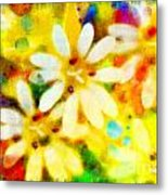Colorful Floral Abstract - Digital Paint Metal Print