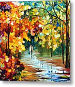 Colorful Forest - Palette Knife Oil Painting On Canvas By Leonid Afremov Metal Print