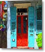 Colorful French Quarter Door  Metal Print