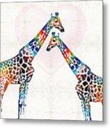 Colorful Giraffe Art - I've Got Your Back - By Sharon Cummings Metal Print