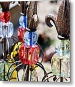 Colorful Glass And Metal Garden Ornaments Metal Print