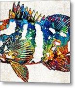 Colorful Grouper 2 Art Fish By Sharon Cummings Metal Print