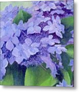 Colorful Hydrangeas Original Purple Floral Art Painting Garden Flower Floral Artist K. Joann Russell Metal Print