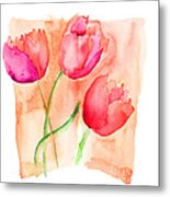 Colorful Illustration Of Red Tulips Flowers  Metal Print