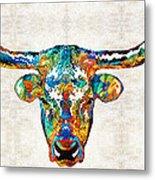Colorful Longhorn Art By Sharon Cummings Metal Print