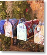 Colorful Mailboxes Santa Fe Painterly Effect Metal Print