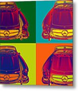 Colorful Mercedes Benz 300 Sl Convertible Popart Metal Print