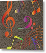 Colorful Musical Notes On Textured Background Illustration Metal Print
