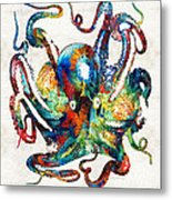 Colorful Octopus Art By Sharon Cummings Metal Print
