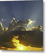 Colorful Orange Yellow Clouds At Sunset Panorama Fine Art Print Metal Print