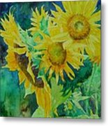 Colorful Original Sunflowers Flower Garden Art Artist K. Joann Russell Metal Print