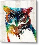 Colorful Owl Art - Wise Guy - By Sharon Cummings Metal Print