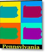 Colorful Pennsylvania Pop Art Map Metal Print