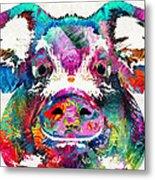 Colorful Pig Art - Squeal Appeal - By Sharon Cummings Metal Print