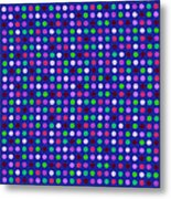 Colorful Polka Dots On Blue Fabric Background Metal Print