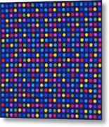Colorful Polka Dots On Dark Blue Fabric Background Metal Print