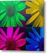 Colorful Pop Art Flowers Metal Print