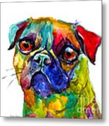 Colorful Pug Dog Painting  Metal Print