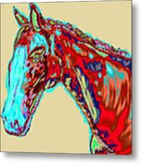 Colorful Race Horse Metal Print