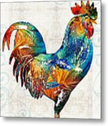 Colorful Rooster Art By Sharon Cummings Metal Print