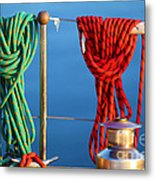 Colorful Rope Detail On Yacht Metal Print