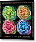 Colorful Rose Spirals With Love Metal Print