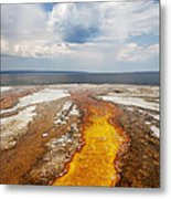Colorful Runoff From Black Pool Leads To Yellowstone Lake Metal Print