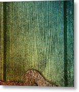 Colorful Rusted Metal Heart Wood Door Hinge Metal Print