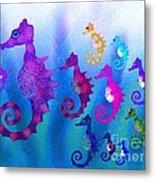 Colorful Sea Horses Metal Print
