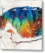 Colorful Sea Turtle By Sharon Cummings Metal Print