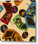 Colorful Seamless Pattern Of Gramophones Metal Print