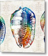 Colorful Seashell Art - Beach Trio - By Sharon Cummings Metal Print