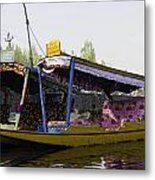 Colorful Shikaras Tied Up Next To The Dal Lake In Srinagar Metal Print
