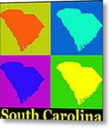 Colorful South Carolina Pop Art Map Metal Print