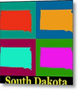 Colorful South Dakota Pop Art Map Metal Print
