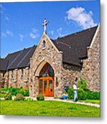 Colorful Stone Catholic Church In North Bay Of Lake Nipissing-on Metal Print