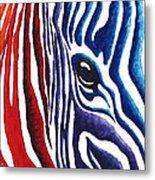 Colorful Stripes Original Zebra Painting By Madart Metal Print