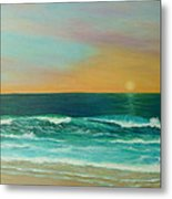 Colorful Sunset Beach Paintings Metal Print