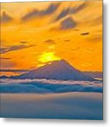 Colorful Sunset Behind Mt. Redoubt And Metal Print