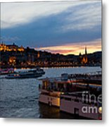 Colorful Sunset In Budapest With A Panoramic View Of The River D Metal Print