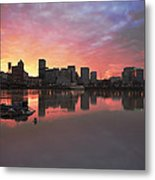 Colorful Sunset Over Portland Downtown Waterfront Metal Print
