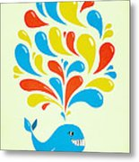 Colorful Swirls Happy Cartoon Whale Metal Print