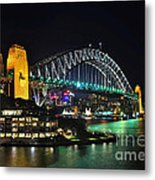 Colorful Sydney Harbour Bridge By Night 3 Metal Print