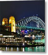 Colorful Sydney Harbour Bridge By Night Metal Print