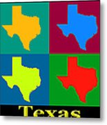 Colorful Texas Pop Art Map Metal Print
