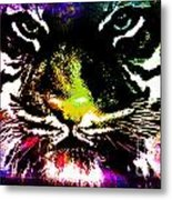 Colorful Tiger Abstract Grunge Face Metal Print