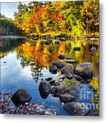Colorful Trees Along The Swift River Metal Print