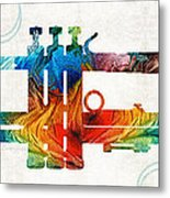 Colorful Trumpet Art Color Fusion By Sharon Cummings Metal Print